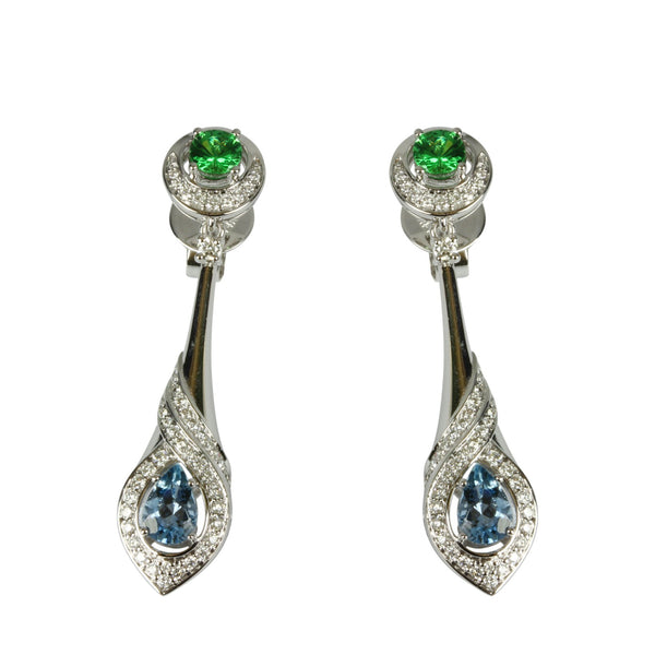 14k Gold Aquamarine & Tsavorite Drop Earrings