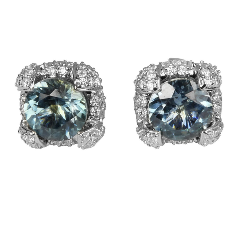 14k Gold Montana Blue Sapphire & Diamond Earrings