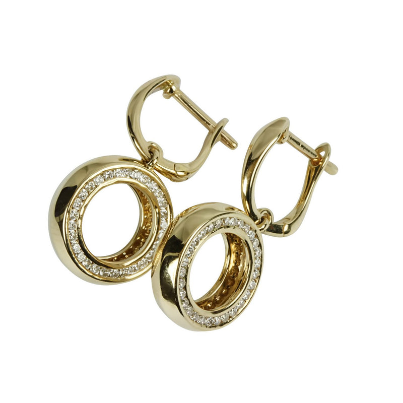 14k Gold Diamond Circle Dangle Earrings