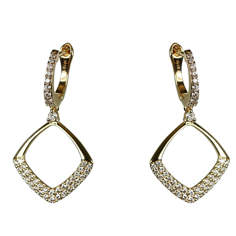 14k Gold Diamond Cushion Drop Earrings