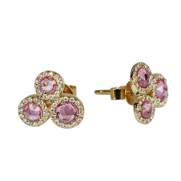 14k Gold Rose Cut Pink Sapphire & Diamond Cluster Earrings