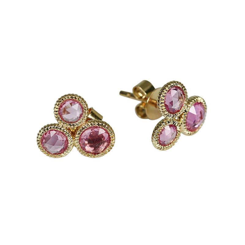 14k Gold Rose Cut Pink Sapphire Cluster Earrings