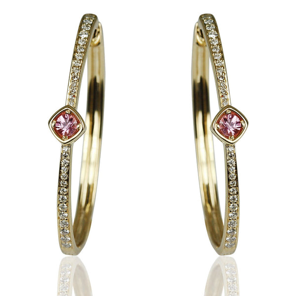 14k Gold Pink Sapphire & Diamond Hoop Earrings