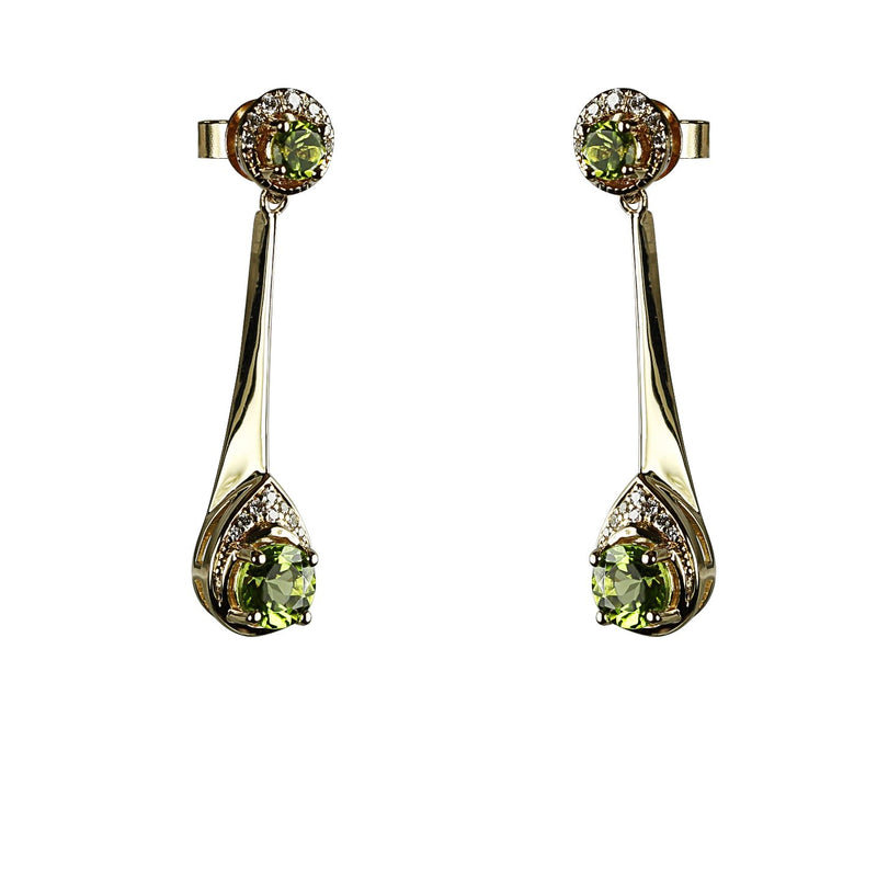 14k Gold Peridot & Diamond Drop Earrings