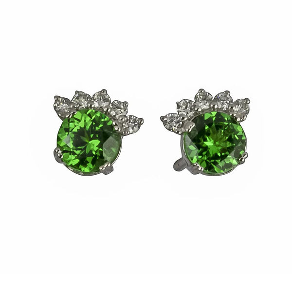 14k Gold 5.5mm Tsavorite & Diamond Flair Earrings