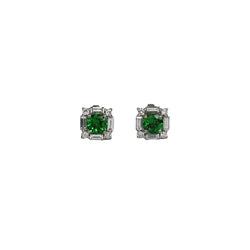 14k Gold Tsavorite & Diamond Art Deco Earrings