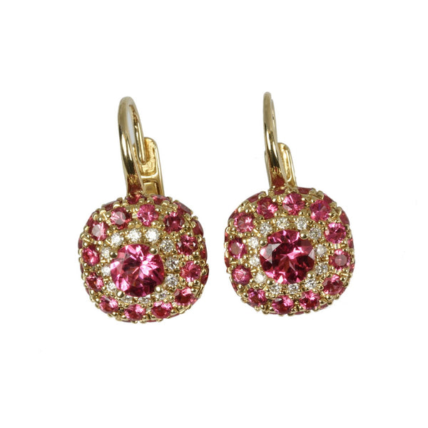 14k Gold Pink Sapphire & Diamond Earrings