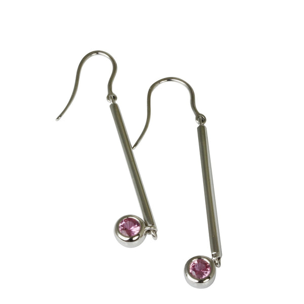 14k Gold Pink Sapphire Bar Drop Earrings