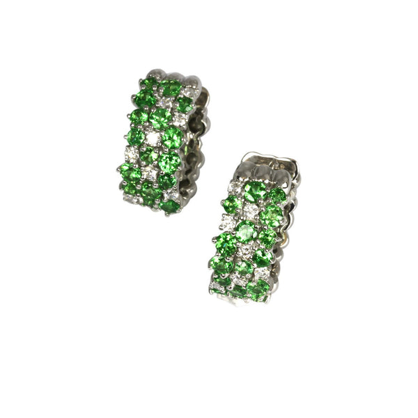 14k Gold Tsavorite & Diamond Scatter Hoop Earrings