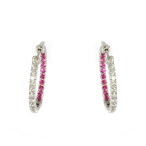 14k Gold Pink Sapphire & Diamond Inside Out Hoop Earrings