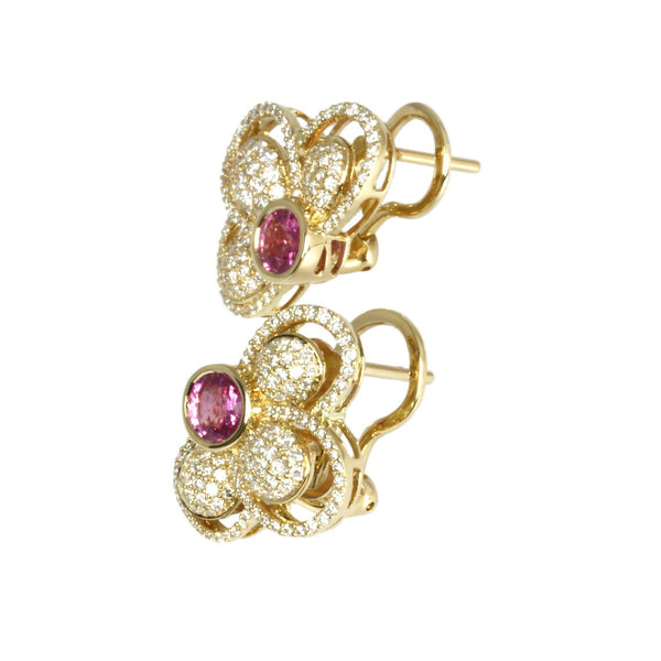 14k Gold Pink Sapphire & Diamond Half Flower Earrings