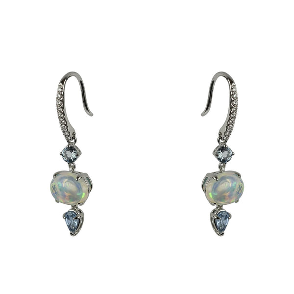 14k Gold Opal & Aquamarine Earrings