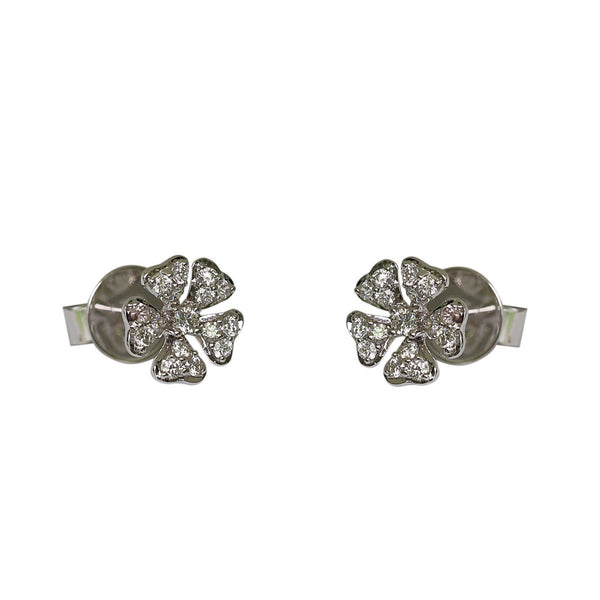 14k Gold Diamond Flower Earrings