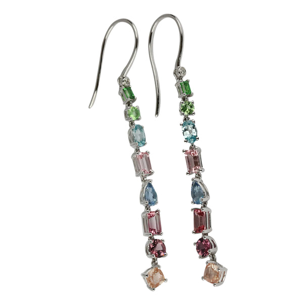 14k Multi Gemstone Long Dangle Earrings