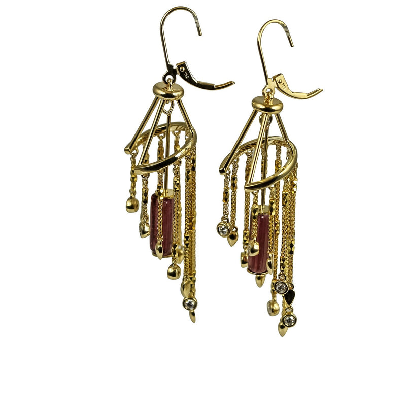 18k Gold Pink Tourmarline Chandelier Gemstone Earrings