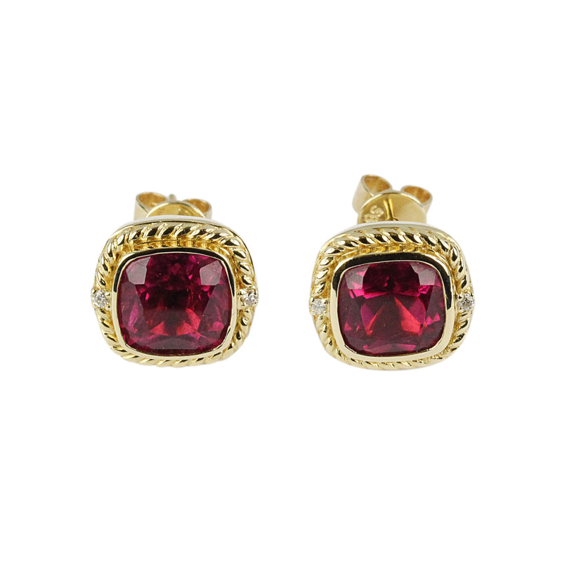 14k Rope Wrapped Cushion Rubellite Stud Earrings