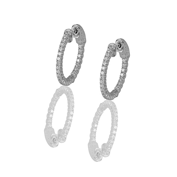 14k Gold & Diamond Full Round Hoop Earrings