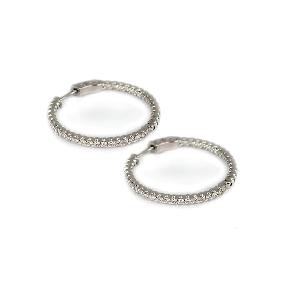 14k Gold & Diamond Full Hoop Earrings
