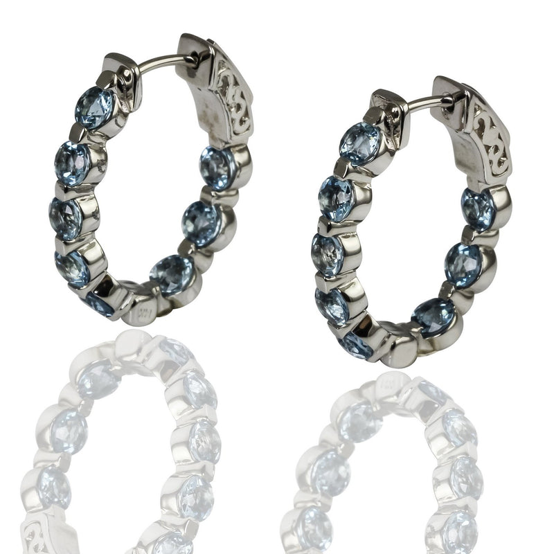 14k Gold Inside Out Aquamarine Hoop Earrings