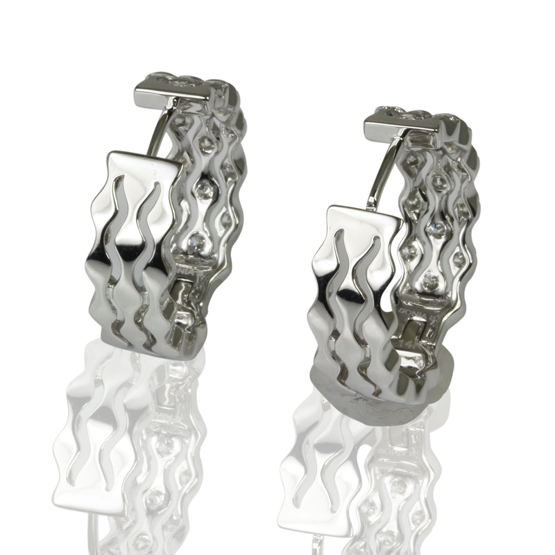 14k Gold & Diamond Tension Set Wave Trio Earrings