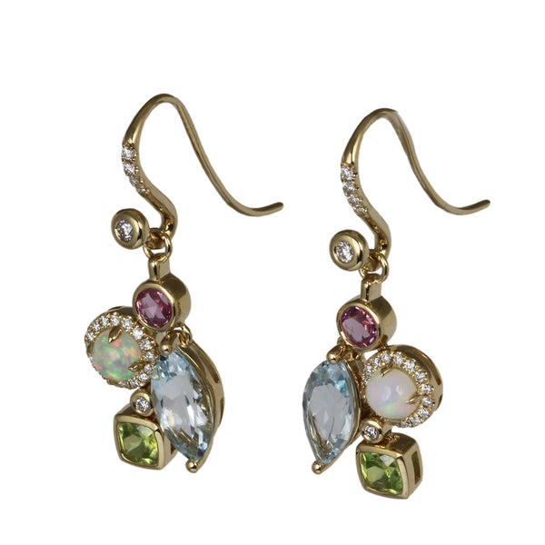 14k Gold Multi Gemstone Drop Earrings