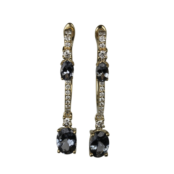 14k Gold Grey Spinel & Diamond Hinge Drop Earrings