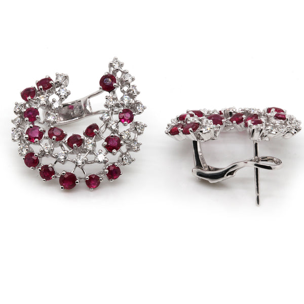14k Gold Diamond & Ruby Crescent Omega Back Earrings