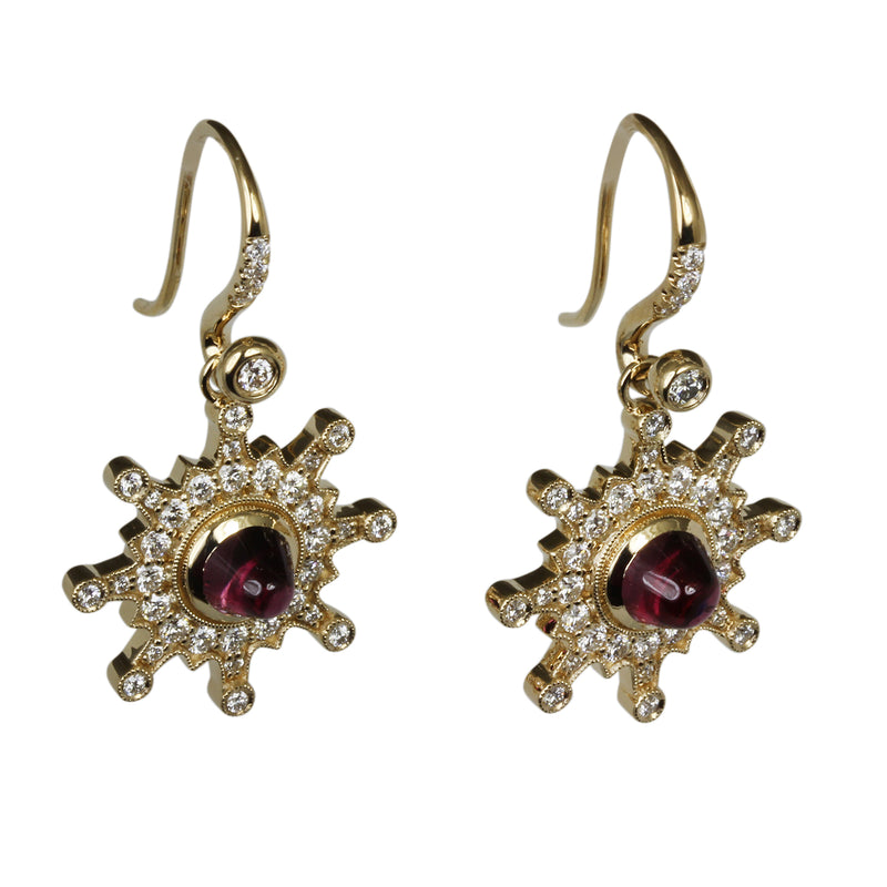 14k Gold Starburst Rhodolite & Diamond Drop Earrings