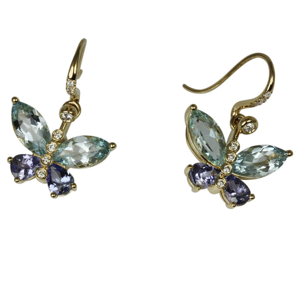 14k Gold Aquamarine & Tanzanite Butterfly Drop Earrings