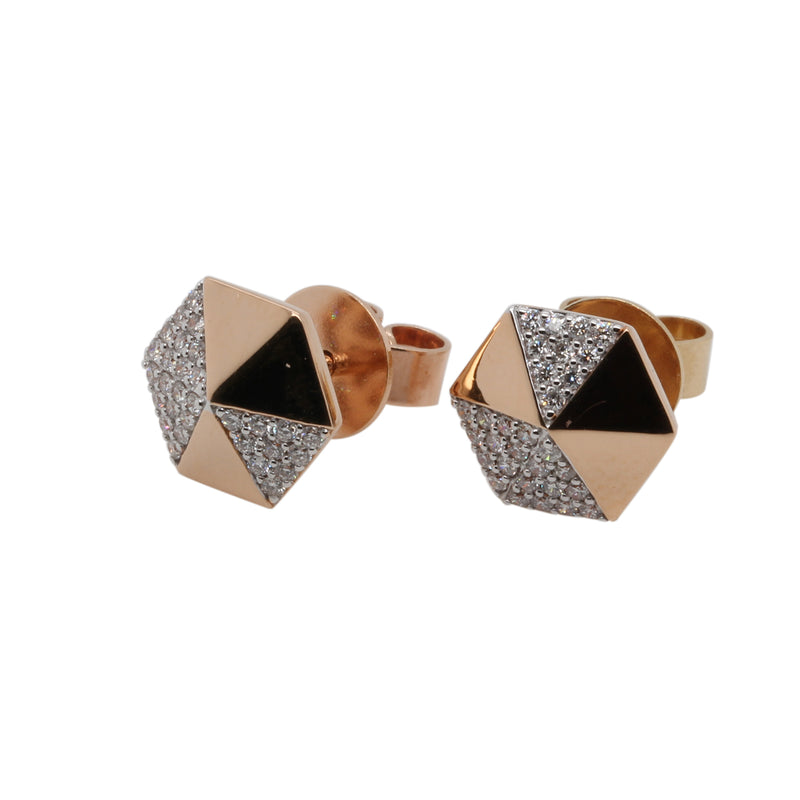 14k Gold Gemoetric Diamond Stud Earrings