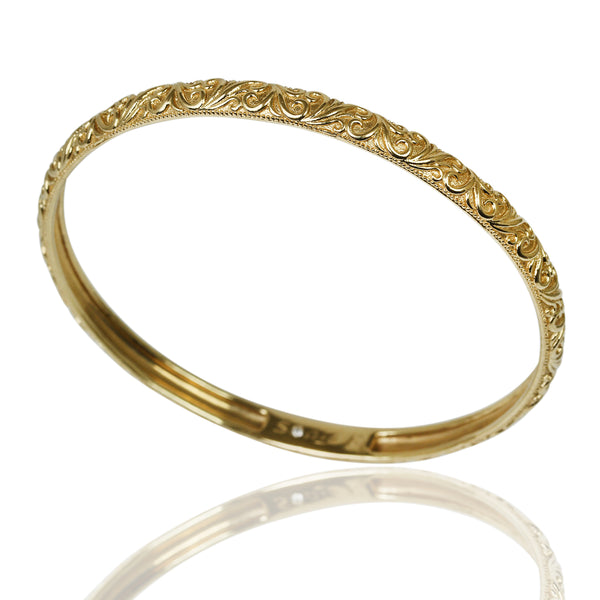 14k Gold Scroll Design Bangle Bracelet