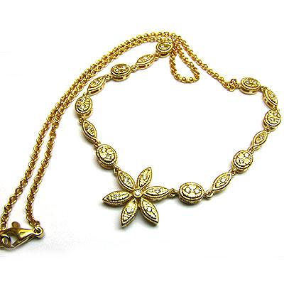 14k Gold 17'' Flower Diamond Chain Link Necklace