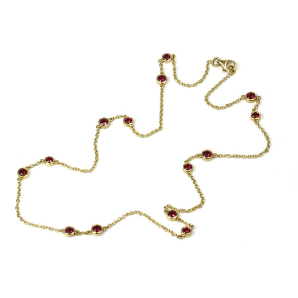 14k Yellow Gold 17'' Pink Sapphire Station Necklace