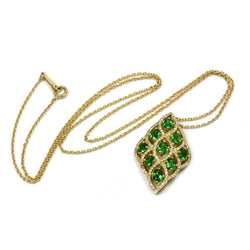 14k Gold Tsavorite & Diamond Pendant Necklace