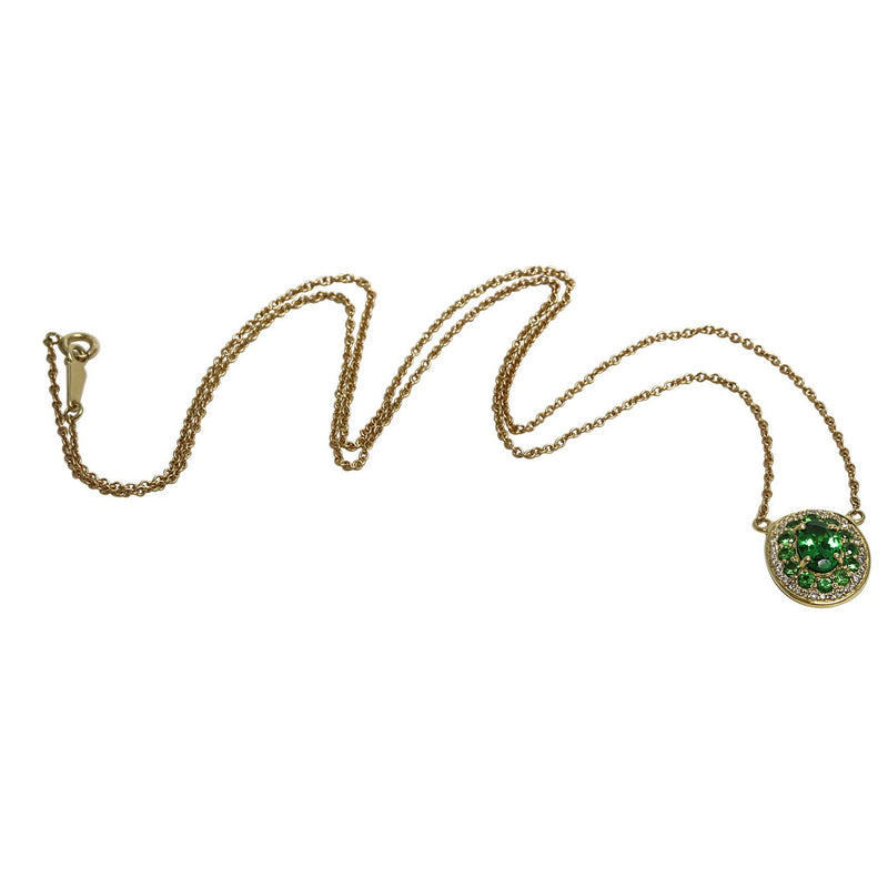 14k Gold Tsavorite & Diamond Oval Necklace