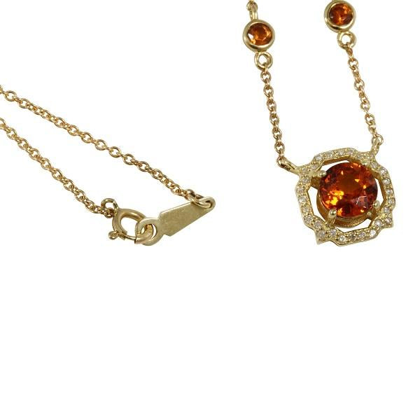 14k Gold Madagascar Citrine Chain Link Necklace