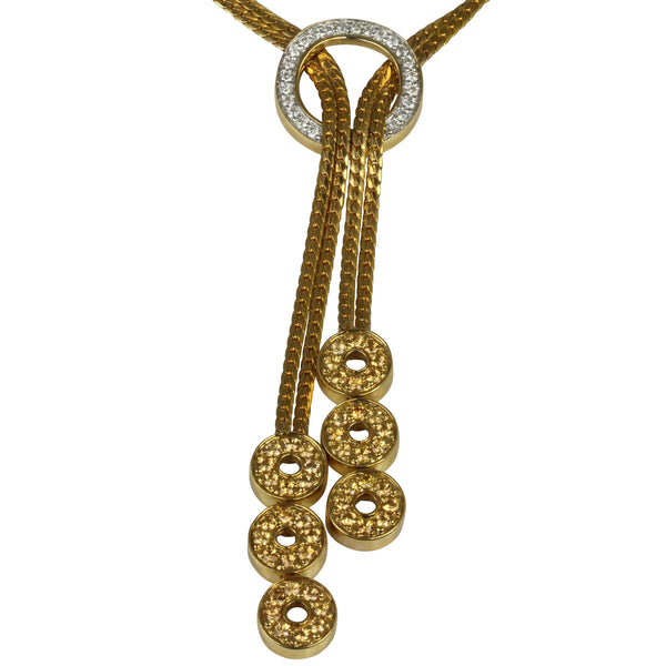 18k Gold 17'' Spessartite & Diamond Lariat Necklace