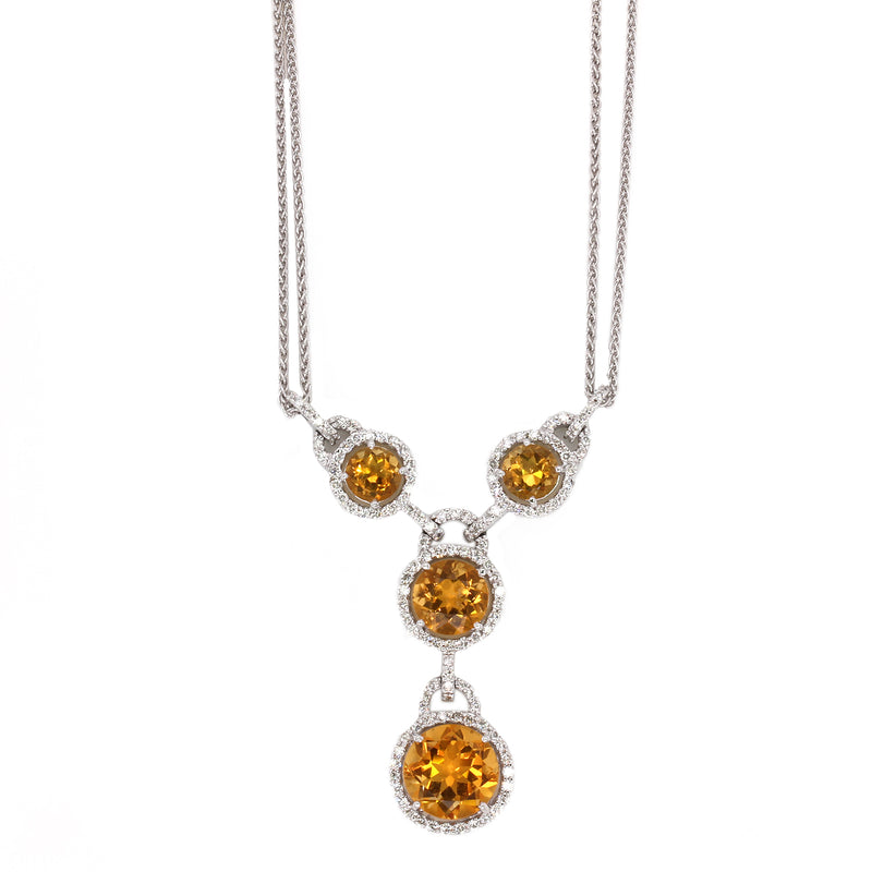 "18k Gold 17"" Citrine & Diamond Double Strand Necklace"