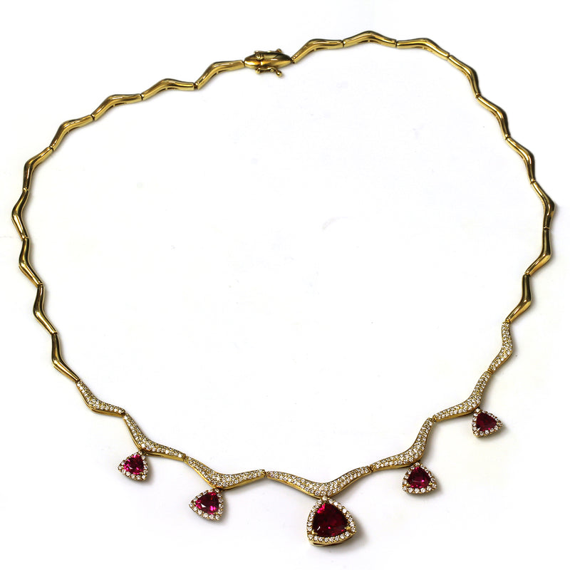 18k Gold 18'' Rubellite & Vs Diamond Necklace