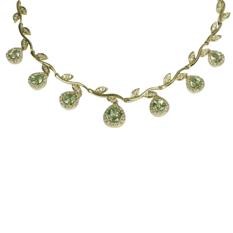 18k Gold 7 Pcs Tsavorite Necklace & Vs Diamond