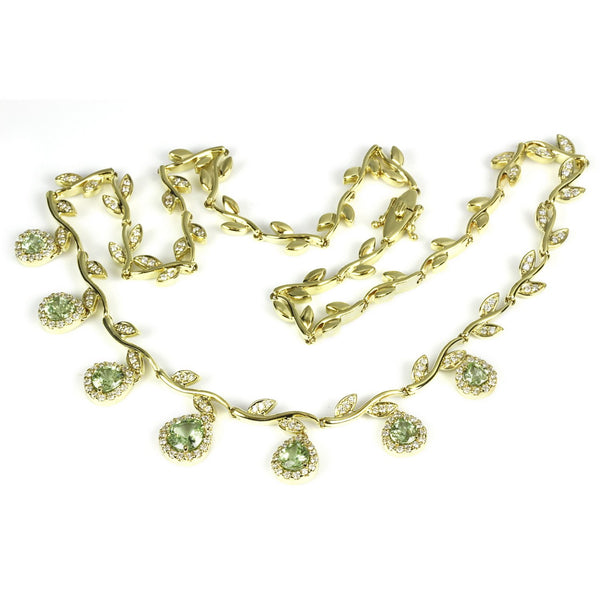 18k Gold Tsavorite Necklace & Vs Diamond Necklace