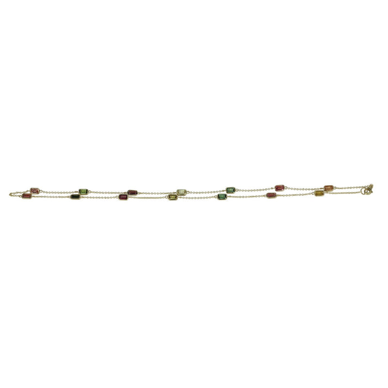 14k Gold Multi-color Tourmaline Station Necklace