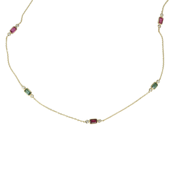 14k 18' Gold Tourmaline & Diamond Station Necklace