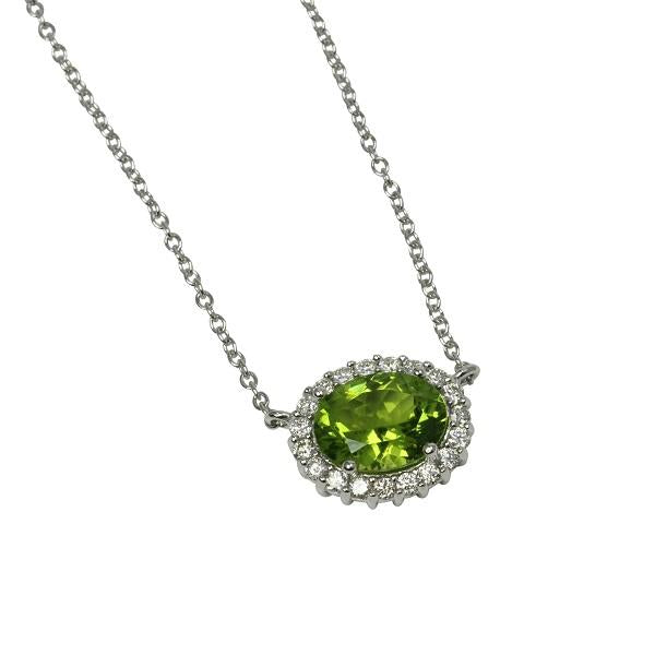 14k Gold Peridot Oval Basket Pendant Necklace