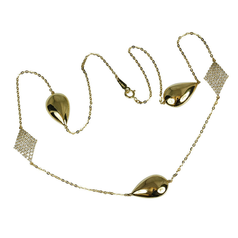 14k Gold Kite & Pear Shape Diamond Necklace