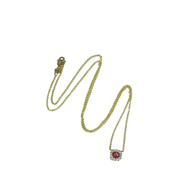 14k Gold Rose Cut Pink Sapphire & Diamond Necklace