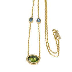 14k Gold Multi Gemstone Chain Station Necklace
