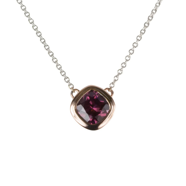 14k Gold Rhodolite Pendant Necklace