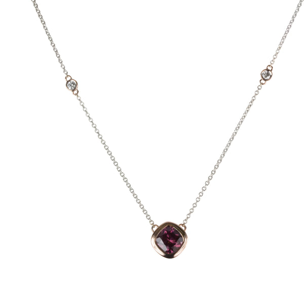 14k Gold Rubelite, Aquamarine & Diamond Station Necklace