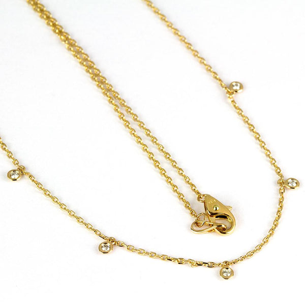 14k Gold 5 Scattered Diamond Necklace